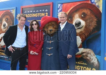 LOS ANGELES - JAN 6:  Hugh Grant, Sally Hawkins, Paddington Bear, Hugh Bonneville at the