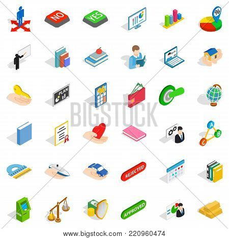 Judge icons set. Isometric style of 36 judge vector icons for web isolated on white background