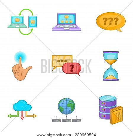 Progressive advertising icons set. Cartoon set of 9 progressive advertising vector icons for web isolated on white background