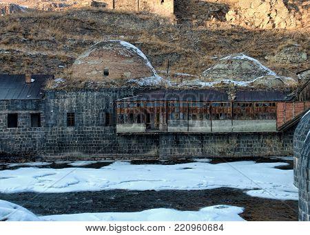 Remains of an old Ottoman public bath in Kars Eastern Turkey