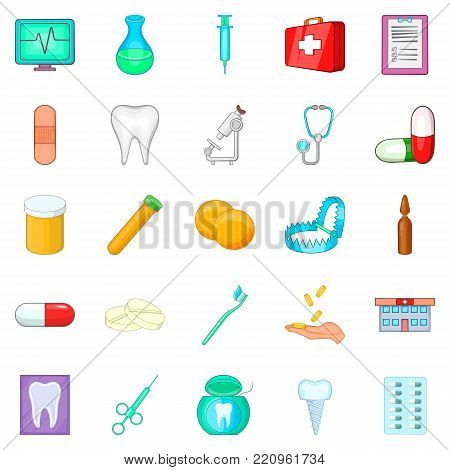 Oral cavity icons set. Cartoon set of 25 oral cavity vector icons for web isolated on white background