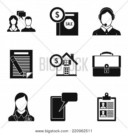Dispute icons set. Simple set of 9 dispute vector icons for web isolated on white background
