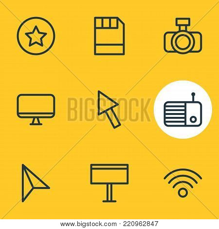 Vector illustration of 9 media icons line style. Editable set of star, fm, camera and other elements.