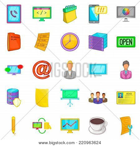 Business department icons set. Cartoon set of 25 business department vector icons for web isolated on white background