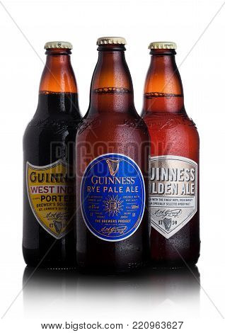 London, Uk - January 02, 2018:  Bottles Of Guinness Rye Pale Ale, West Indies Porter And Golden Ale