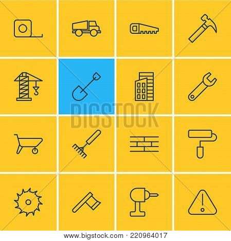 Vector illustration of 16 construction icons line style. Editable set of harrow, hacksaw, circle blade and other elements.
