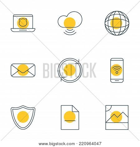 Vector illustration of 9 internet icons line style. Editable set of photo, safeguard, telephone and other elements.