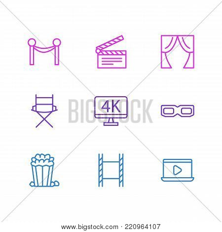 Vector illustration of 9 movie icons line style. Editable set of 3d glasses, cinema reel, clapperboard and other elements.