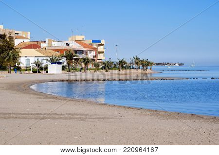 Los Alcazares beach. Fishing village on the western side of the Mar Menor in the autonomous community and province of Murcia, southeastern Spain.