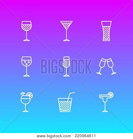 Vector illustration of 9 beverage icons line style. Editable set of margarita, lemonade, beverage and other elements.
