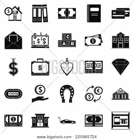 Deposit account icons set. Simple set of 25 deposit account vector icons for web isolated on white background