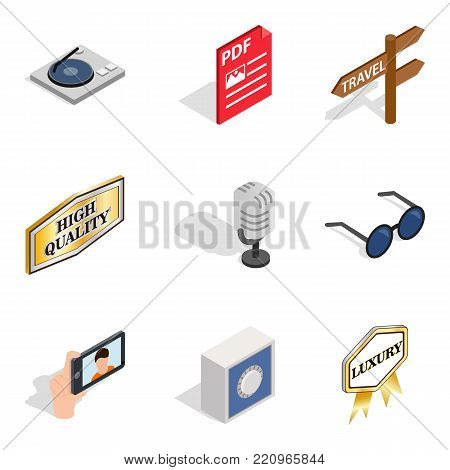 Music maker icons set. Isometric set of 9 music maker vector icons for web isolated on white background