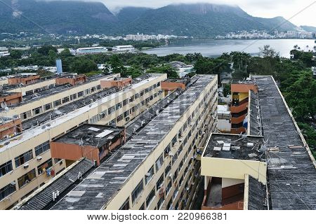 Rio de Janeiro, Brazil - Jan 7, 2018: Cruzada S o Sebasti o in Leblon, Rio de Janeiro, Brazil, is a Government-built complex built in 1955 following a fire at a nearby favela