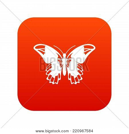 Admiral butterfly icon digital red for any design isolated on white vector illustration