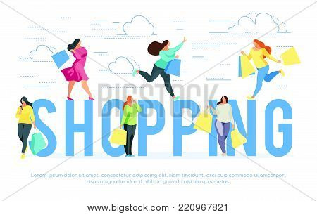 Shopping. Banner template with buyers. Trendy shoppers with shopping bags in a flat style. Vector illustration.