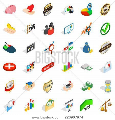 Best quality icons set. Isometric style of 36 best quality vector icons for web isolated on white background