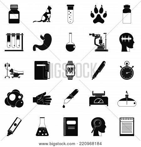 Examination icons set. Simple set of 25 examination vector icons for web isolated on white background