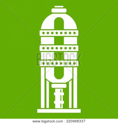 Capacity for oil storage icon white isolated on green background. Vector illustration