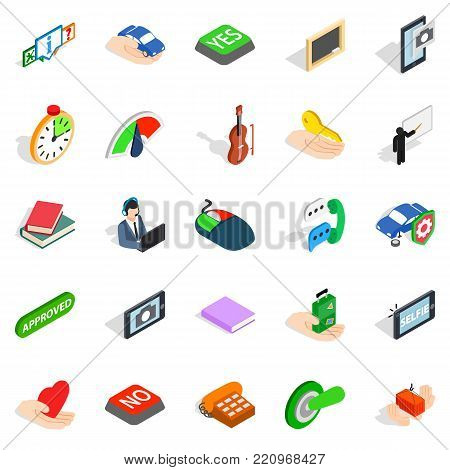 Duologue icons set. Isometric set of 25 duologue vector icons for web isolated on white background