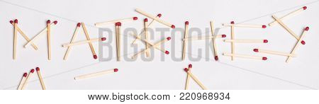 Matches Spelled With Matches Isolated On White Background.