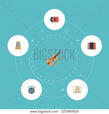Icons flat style volume control, metronome, vinyl and other vector elements. Set of melody icons flat style symbols also includes retro, percussion, knob objects.
