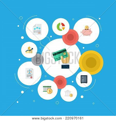Icons flat style profit, asset, accumulation and other vector elements. Set of accounting icons flat style symbols also includes dollar, paper, money objects.