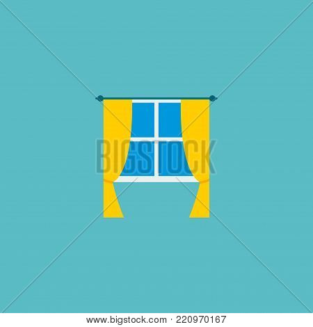 Icon flat window element. Vector illustration of icon flat casement isolated on clean background. Can be used as casement, window and curtain symbols.