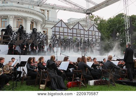 ST. PETERSBURG, RUSSIA - JULY 19, 2017: Actors and musicians perform the opera The Marksman of C. M. von Weber outdoors during the festival All Together Opera. It was third of 4 performances