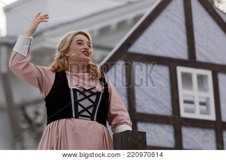 ST. PETERSBURG, RUSSIA - JULY 19, 2017: Micaela di Catalano as Agathe in the opera The Marksman of C. M. von Weber outdoors during the festival All Together Opera. It was third of 4 performances