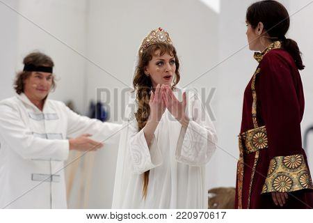 ST. PETERSBURG, RUSSIA - JULY 12, 2017: Zhanna Dombrovskaya (center) as Lyudmila in the opera Ruslan and Lyudmila outdoors during the festival All Together Opera. It was first of 4 performances