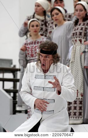 ST. PETERSBURG, RUSSIA - JULY 12, 2017: Denis Sedov as Ruslan in the opera Ruslan and Lyudmila outdoors during the festival All Together Opera. It was first of 4 performances