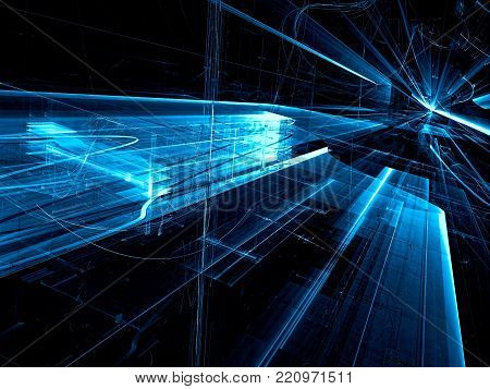Virtual reality, sci fi or hi tech dark blue background. 3d illustration - fractal. Abstract computer-generated image. Future city concept.