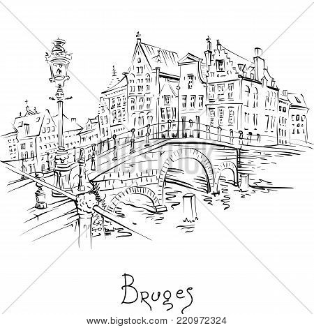 Vector scenic black and white city sketch, view of Bruges canal and bridge with beautiful medieval houses, Belgium