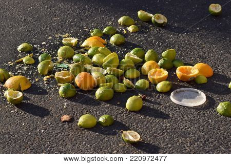 Juiced citrus rinds discarded on blacktop, including lemons, limes, and oranges.