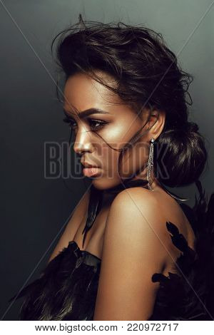 Fashion Beauty Girl. Gorgeous Woman Portrait. Stylish Haircut and Makeup. Hairstyle. Make up. Vogue Style. Sexy Glamour Girl poster