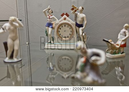 ST. PETERSBURG, RUSSIA - APRIL 24, 2017: Soviet time porcelain clock with two pioneers and the slogan Be Ready in the Russian Museum. It's the widest museum of Russian art in the world