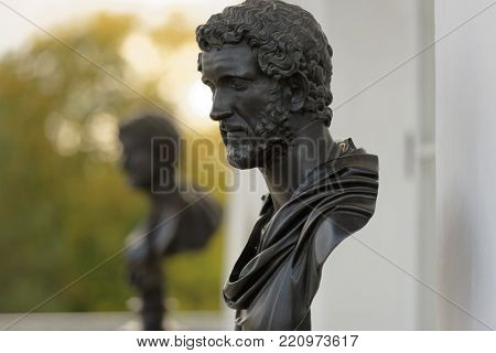 PUSHKIN, ST. PETERSBURG, RUSSIA - SEPTEMBER 20, 2015: Busts in the Cameron Gallery of Catherine palace. The copy of antique statues was created in 1760-1780s