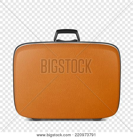 Realistic vector retro vintage leather brown suitcase closeup isolated on transparency grid background. Design template, clipart or mockup for graphics, branding, advertising. Front view.