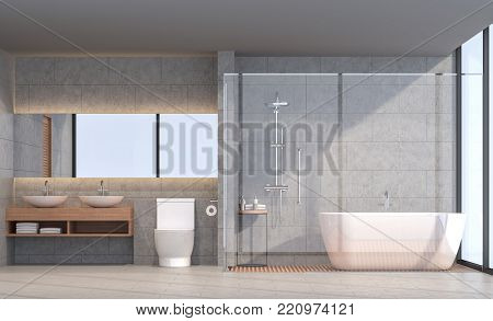 Modern loft bathroom 3d rendering image. There are concrete tile wall and floor.The room has large windows. Looking out to see the scenery outside.
