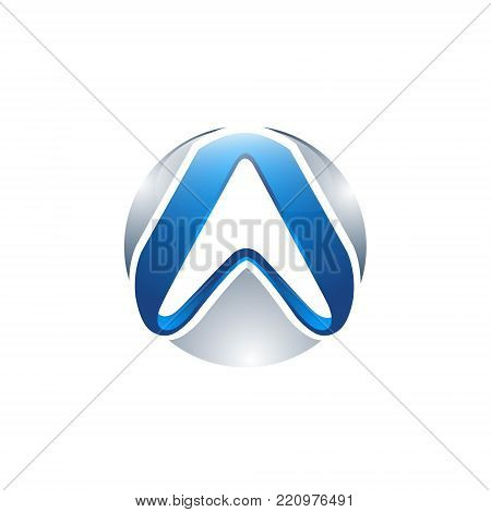 3D circle letter A blue grey circle Abstract Initial alphabet Logo design Template
