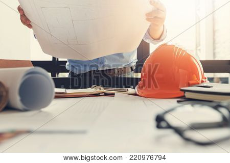 Engineer And Architect Concept, Engineer Architects Office In Working Day With Blueprints, Vintage E