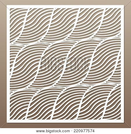Decorative card for cutting. Rope, squiggly line pattern. Laser cut. Ratio 1:1. Vector illustration.