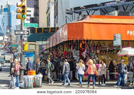 Crowds Of People On Canal Street In New York City