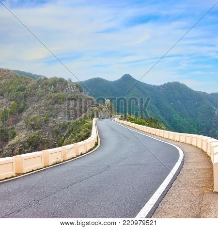 Empty meandering highway in the mountains in Tenerife, The Canaries