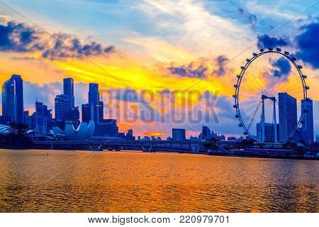Singapore City, Singapore: Jan 2,2018: Singapore Skyline. Singapore`s Business District, Marina Bay