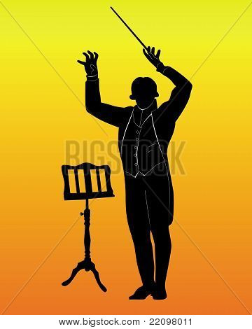 Silhouette Of A Conductor With The Music Stand