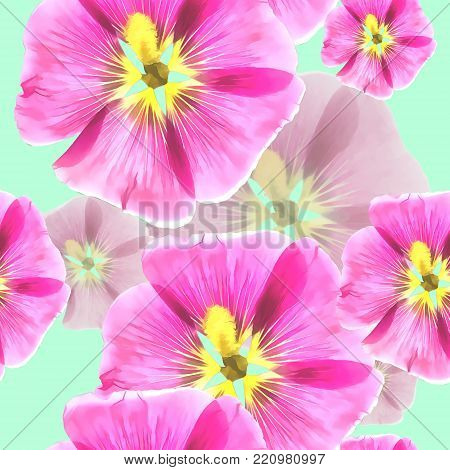 Mallow, malva. Texture of flowers. Seamless pattern for continuous replicate. Floral background, photo collage for production of textile, cotton fabric. For use in wallpaper, covers
