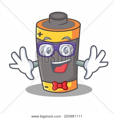 Geek battery character cartoon style vector illustration