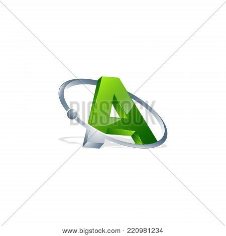 3D letter A green colour with atom orbits meteor space Abstract swoosh Initial alphabet Logo design Template