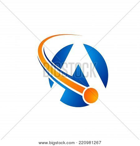 letter A atom orange colour orbits meteor space Abstract swoosh Initial alphabet Logo design Template